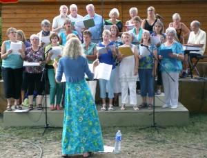 Singing with our local choir, La Chorale de Puivert