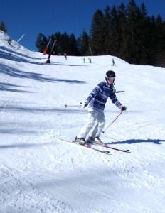 Izzy skiing on our nearest ski slopes